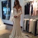 Deep V Neck Long Sleeve Mermaid Lace Wedding Dress With Sheer Back