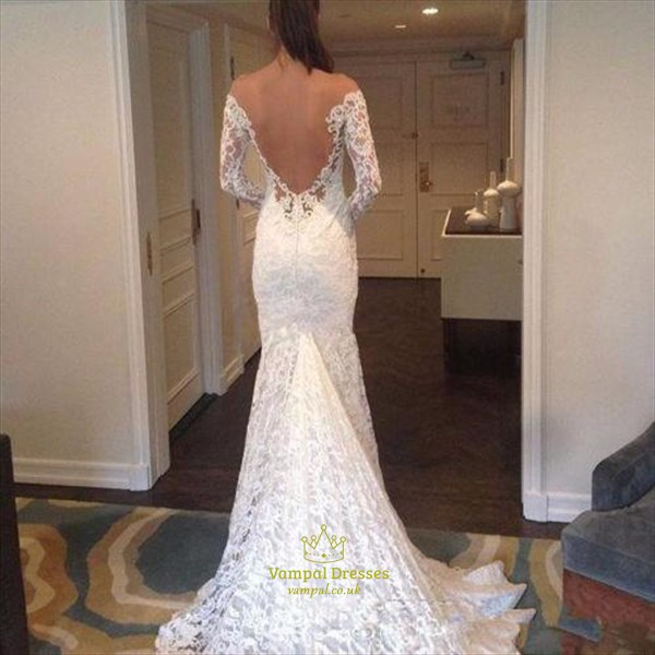 Deep V Neck Long Sleeve Mermaid Lace Wedding Dress With Sheer Back