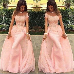 Blush Pink Off The Shoulder Mermaid Prom Dress With Detachable Skirt