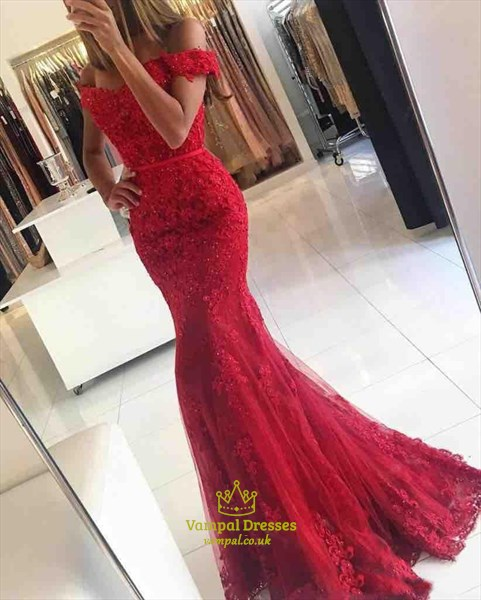Red Off Shoulder Lace Embellished Mermaid Floor Length Evening Dress