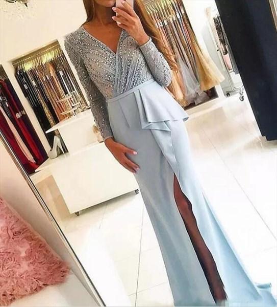 Long Sleeve V-Neck Sequin Embellished Chiffon Prom Dress With Split
