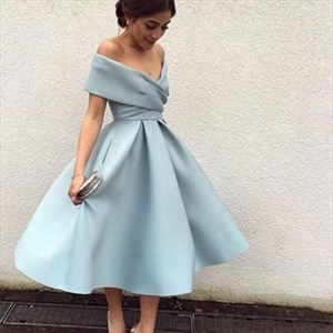 Light Blue Off The Shoulder V-Neck A-Line Tea Length Cocktail Dress