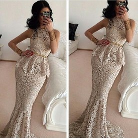 Elegant Sleeveless Peplum Sheath Mermaid Floor Length Lace Prom Dress