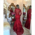 Trumpet/Mermaid Illusion V-Neck Lace Long Prom Dress With Long Sleeves