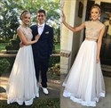 Two-Piece Cap Sleeve A-Line Jewel Embellished Floor Length Prom Dress