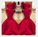 Red Strapless Asymmetrical Neckline Mermaid Floor Length Prom Dress