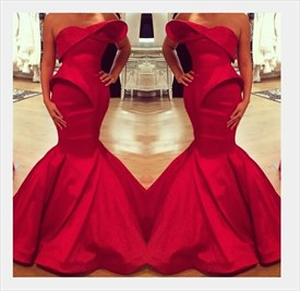 Red Strapless Asymmetrical Neckline Mermaid Floor Length Prom Dress