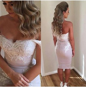 Knee Length Off The Shoulder Lace Embellished Sheath Cocktail Dress