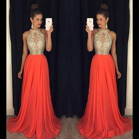 A-Line Sleeveless Jeweled Bodice Chiffon Long Prom Dress With Keyhole