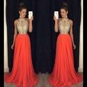 A-Line Sleeveless Jeweled Bodice Chiffon Long Prom Dress With Keyhole