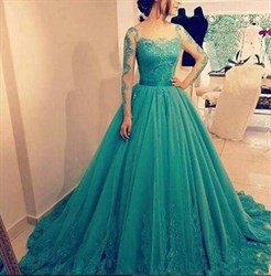 Emerald Green Long Sleeve Lace Embellished A-Line Ball Gown Prom Dress