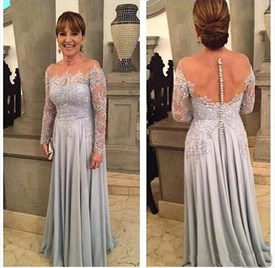 Grey Long Sleeve A-Line Floor Length Prom Dress With Sheer Neckline