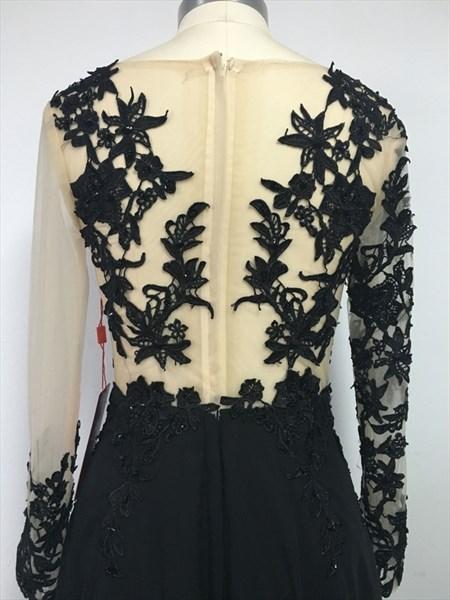 Sheer Lace Bodice Black Slit Prom Dress