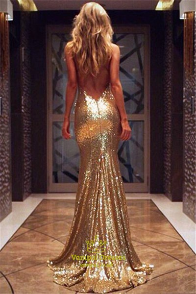 Spaghetti Strap V Neck Backless Mermaid Long Evening Dress