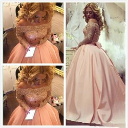 Off The Shoulder Satin A-Line Ball Gown Prom Dress With Long Sleeves
