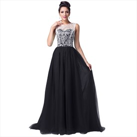Sleeveless A-Line Tulle Floor Length Prom Dress With Lace Top