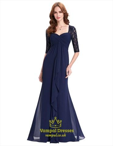 Navy Blue Half Sleeve Sweetheart Lace Chiffon A-Line Long Prom Dress