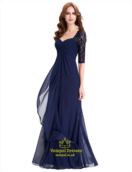 Navy Blue Half Sleeve Sweetheart Lace Chiffon A-Line Long Prom Dress