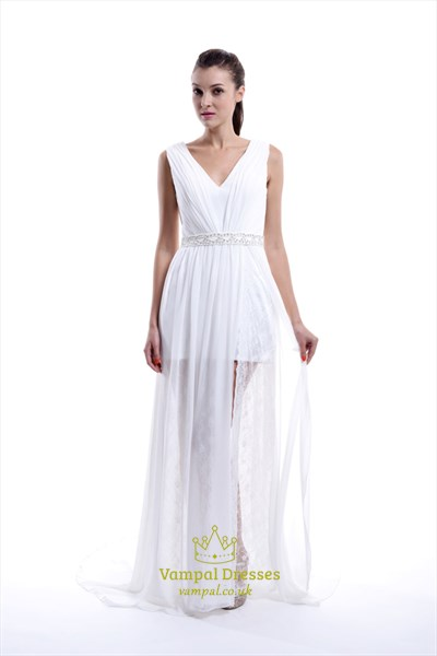 Elegant White Sleeveless V-Neck Floor Length Lace Chiffon Evening Gown