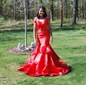 Trumpet/Mermaid Off The Shoulder V-Neck Two Piece Prom Gown With Train