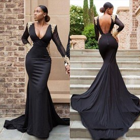 Black Long Sleeve Plunge V Neck Mermaid Evening Dress With Appliques