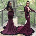 Open Back Long Sleeve Plunge V-Neck Mermaid Evening Dress With Lace