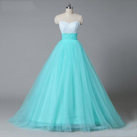 Aqua Blue Strapless Sweetheart Empire Waist A-Line Tulle Ball Gown