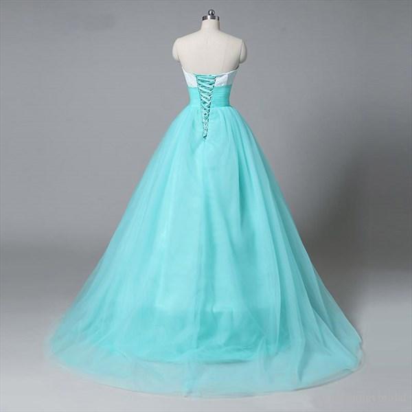 Aqua Blue Strapless Sweetheart Empire Waist A-Line Tulle Ball Gown