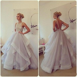 Sleeveless Illusion Beaded Bodice Backless Ball Gown With Ruffles