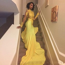Yellow Illusion Long Sleeve Lace Bodice Chiffon Prom Dress With Train