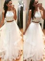 White Sleeveless Two Piece Beaded Bodice Prom Dress With Tulle Skirt
