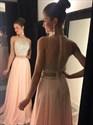 Sleeveless Two-Piece A-Line Chiffon Long Prom Dress With Illusion Back