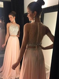 Sleeveless Two-Piece A-Line Chiffon Long Prom Dress With Illusion Back