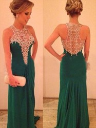 Emerald Green Elegant Sleeveless Jewel Embellished Long Evening Dress