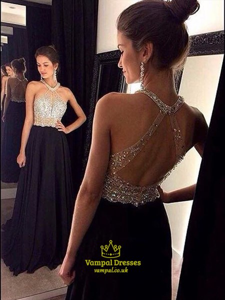 Black Sleeveless Floor Length A-Line Prom Dress With Illusion Bodice
