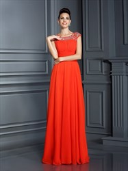 Orange Red Cap Sleeve Jeweled-Bodice Empire Waist Long Formal Dress