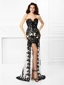 Black Strapless Sweetheart Lace Applique Tulle High-Low Prom Dress