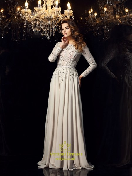 Elegant Long Sleeve A-Line Jewel Embellished Prom Dress With Open Back