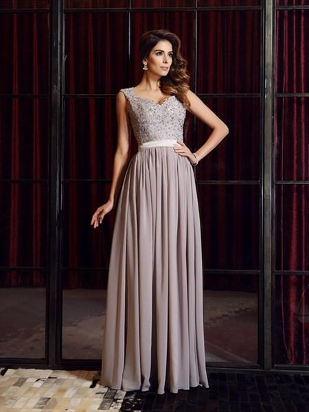 Grey Sleeveless V Neck A-Line Lace Top Chiffon Floor Length Prom Dress