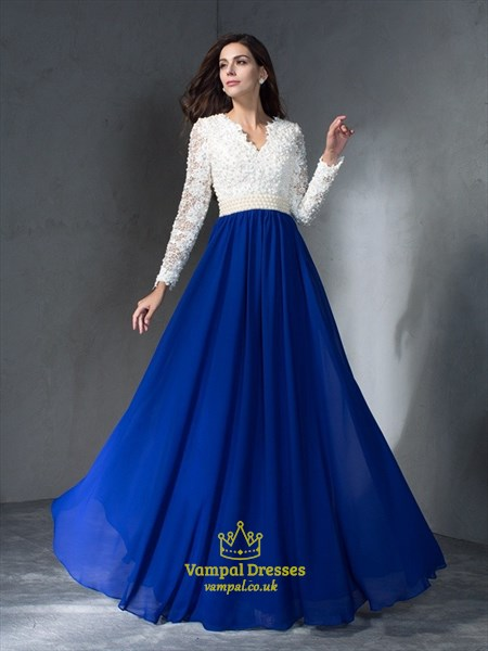 White And Royal Blue Long Sleeve V-Neck Lace Beaded Bodice Prom Dress