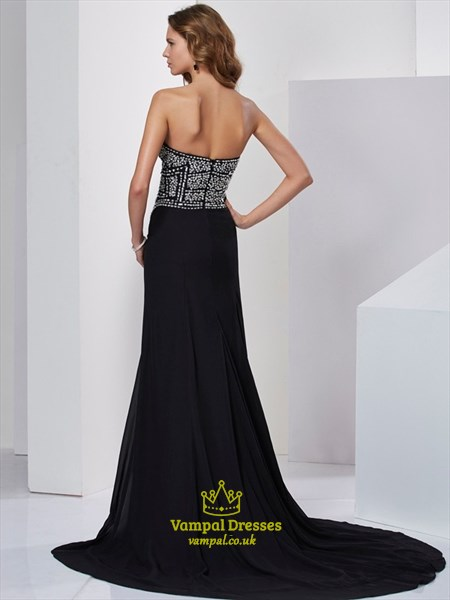 Black Strapless Sleeveless Jeweled-Bodice Mermaid Prom Dress With Slit