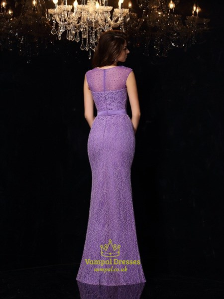 Elegant Mermaid Floor Length Lace Prom Dress With Illusion Neckline