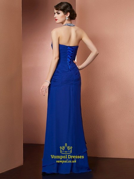 Royal Blue Beaded Halter Floor Length Ruched Chiffon Evening Dress