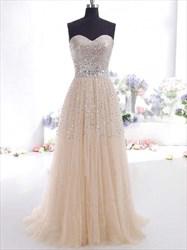 Strapless Sequin Bodice Tulle Skirt A-Line Floor Length Prom Dress