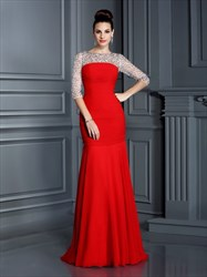 Red Half Sleeve Beaded Top Drop Waist Prom Dress With Ruched Bodice