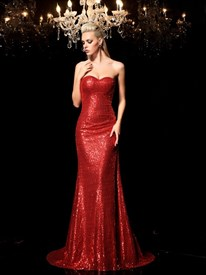 Burgundy Sequin Strapless Sweetheart Mermaid Floor-Length Prom Dress