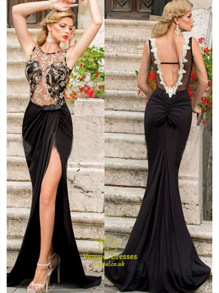 Illusion Sheer Lace Bodice Sleeveless Open Back Prom Dress With Split