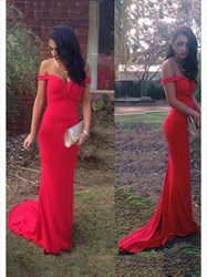 Elegant Simple Red Off The Shoulder Floor-Length Mermaid Evening Dress