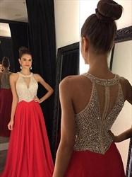 Sleeveless A-Line Beaded Bodice Chiffon Prom Dress With Keyhole Front