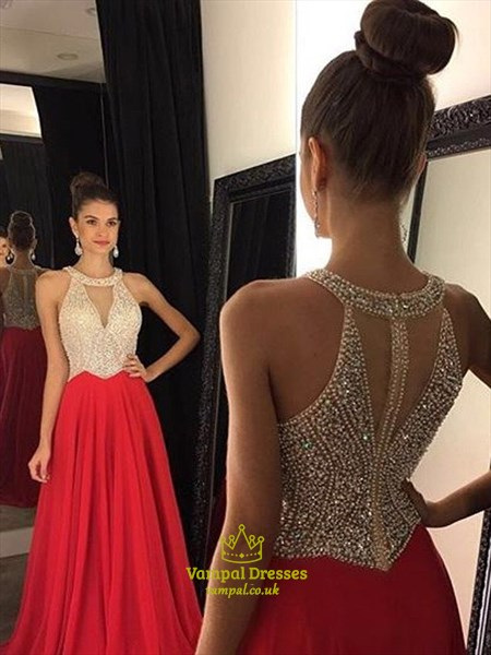 Sleeveless A-Line Beaded Bodice Chiffon Prom Dress With Keyhole Front